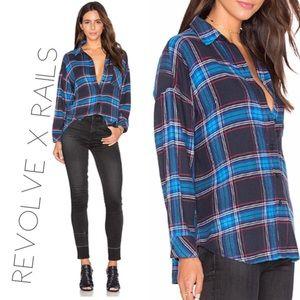 Revolve Rails teal plaid button down shirt L 0439